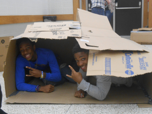 Katie Cline/Chanticleer - Members of Phi Beta Sigma participate in the Build-A-Shelter competition.