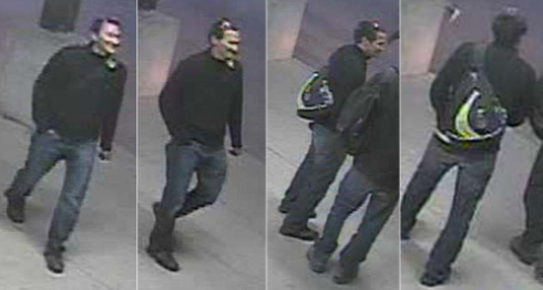 four surveillance camera images of a man they identify as a person of interest in the deaths of the two men.