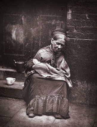 """The Crawlers"" by John Thomson, circa 1877.  Destitute mother and child."